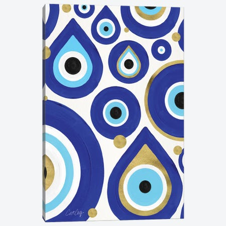 White - Evil Eye Charms Canvas Print #CCE493} by Cat Coquillette Canvas Artwork
