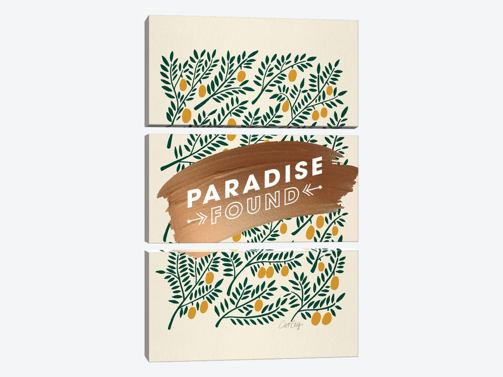 Yellow - Paradise Found  by Cat Coquillette 3-piece Canvas Print