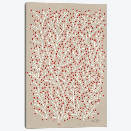 Berry Branches Red Tan Artprint Canvas Print #CCE56} by Cat Coquillette Canvas Artwork
