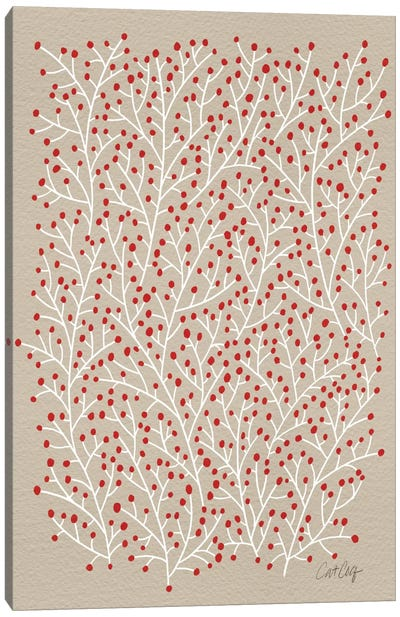Berry Branches Red Tan Artprint Canvas Print #CCE56