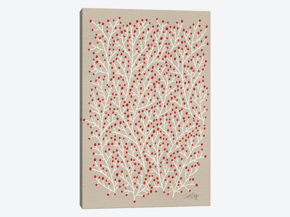 Berry Branches Red Tan Artprint by Cat Coquillette 1-piece Canvas Art