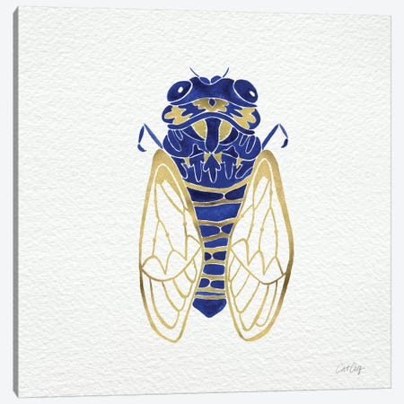 Cicada Gold Navy Artprint Canvas Print #CCE5} by Cat Coquillette Canvas Artwork