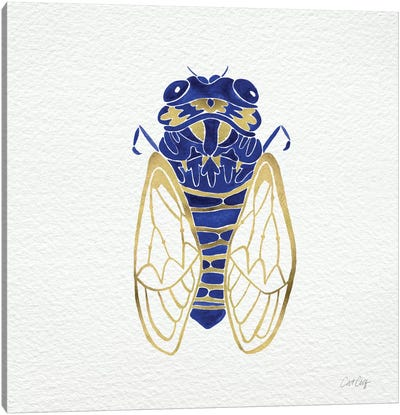 Cicada Gold Navy Artprint Canvas Print #CCE5