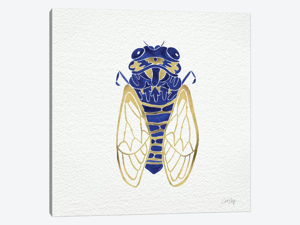 Cicada Gold Navy Artprint by Cat Coquillette 1-piece Canvas Print