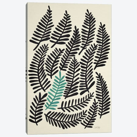 Black Fronds Artprint Canvas Print #CCE64} by Cat Coquillette Art Print