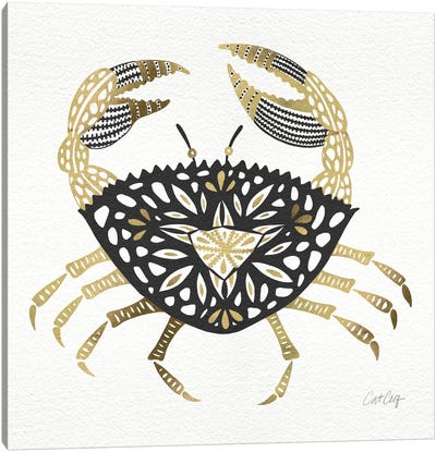Black Gold Crab Artprint Canvas Print #CCE65