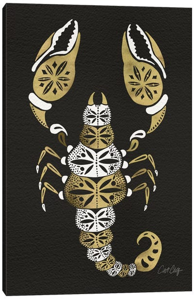 Black Gold Scorpion Artprint Canvas Art Print