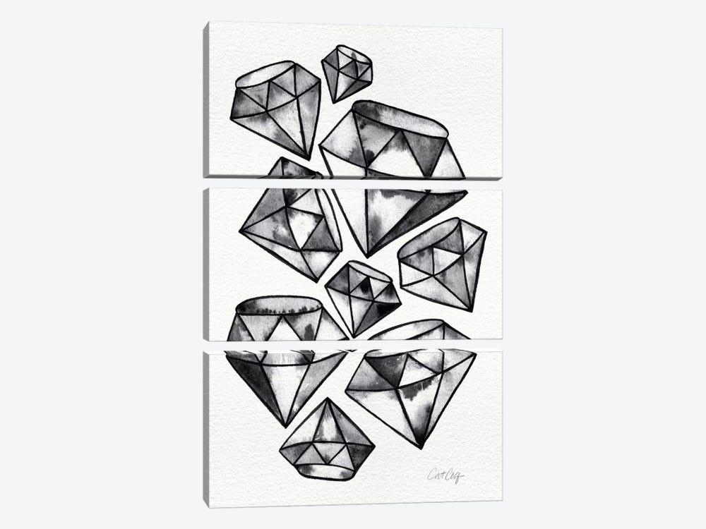 Black Tattoo Diamonds by Cat Coquillette 3-piece Canvas Artwork