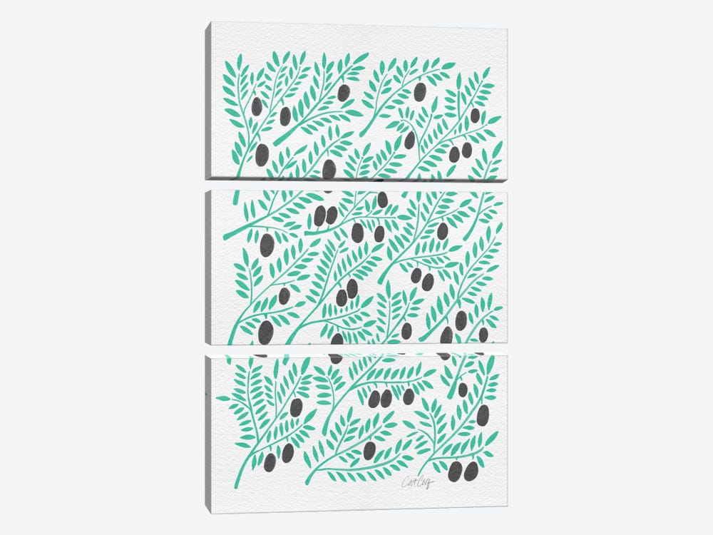 Black Turquoise Olive Branches Artprint by Cat Coquillette 3-piece Art Print
