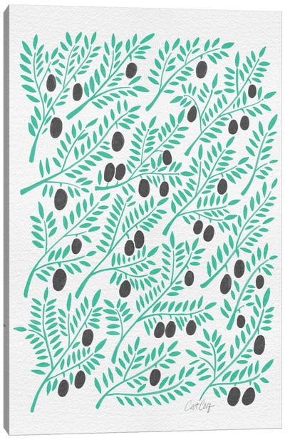 Black Turquoise Olive Branches Canvas Art Print