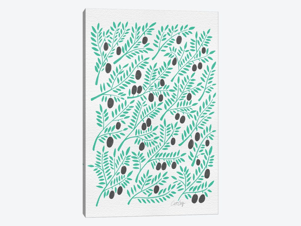 Black Turquoise Olive Branches by Cat Coquillette 1-piece Art Print
