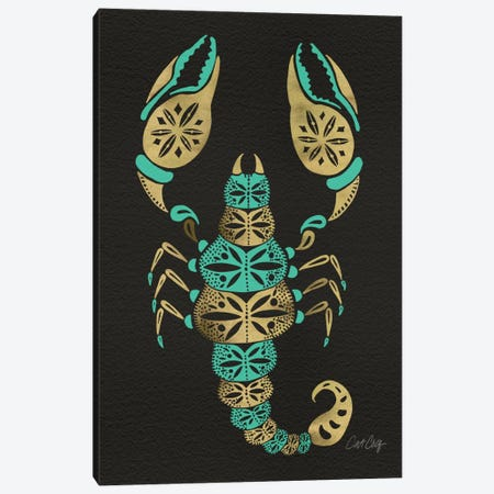 Black Turquoise Scorpion Artprint Canvas Print #CCE72} by Cat Coquillette Canvas Art Print