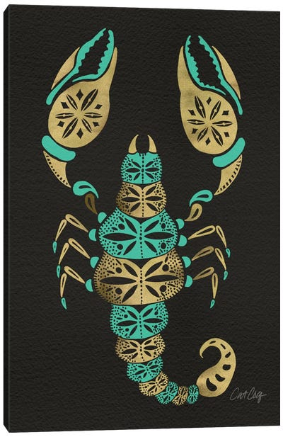 Black Turquoise Scorpion Artprint Canvas Art Print