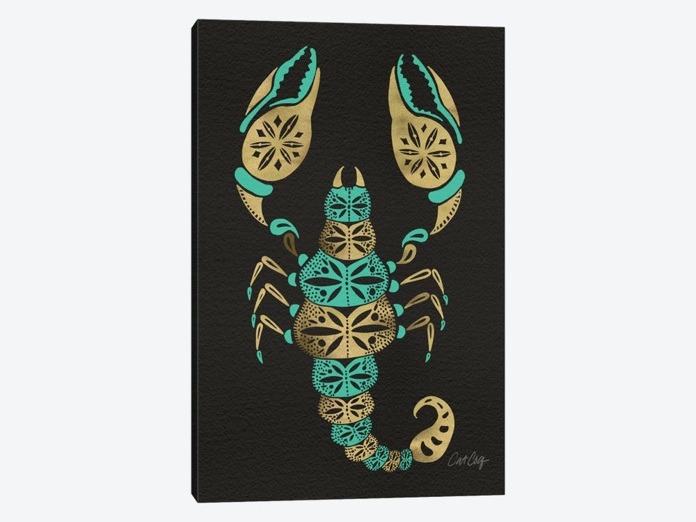 Black Turquoise Scorpion Artprint by Cat Coquillette 1-piece Canvas Art