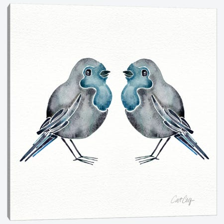 Blue Birds Canvas Print #CCE74} by Cat Coquillette Canvas Artwork