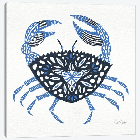 Blue Crab Artprint Canvas Print #CCE75} by Cat Coquillette Canvas Wall Art