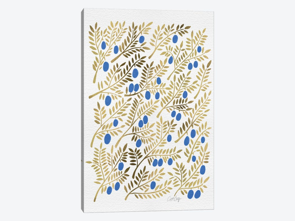 Blue Gold Olive Branches Artprint by Cat Coquillette 1-piece Canvas Art