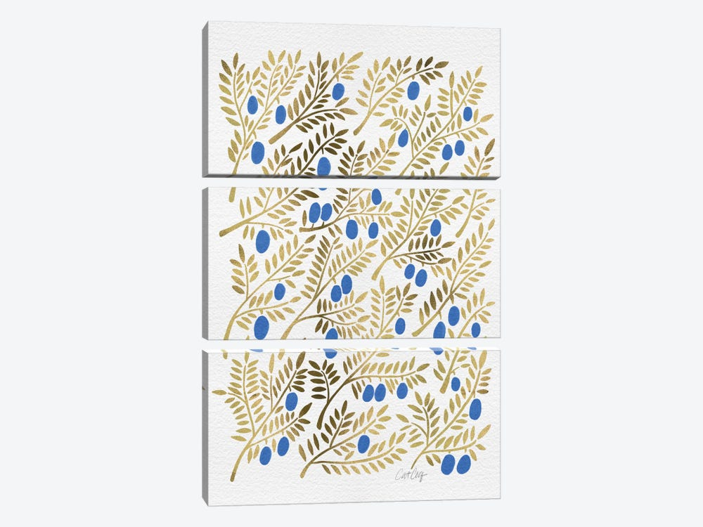 Blue Gold Olive Branches Artprint by Cat Coquillette 3-piece Canvas Wall Art