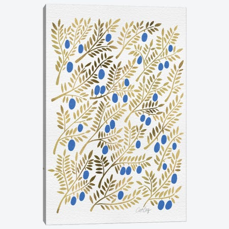 Blue Gold Olive Branches Canvas Print #CCE76} by Cat Coquillette Canvas Artwork