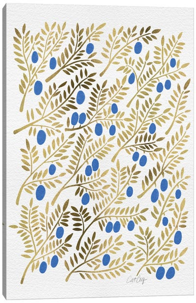 Blue Gold Olive Branches Canvas Art Print