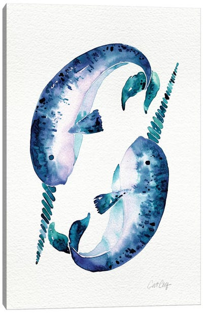Blue Narwhals Artprint Canvas Print #CCE78
