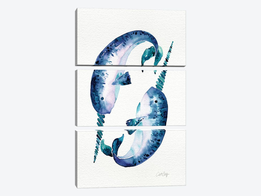Blue Narwhals by Cat Coquillette 3-piece Canvas Artwork