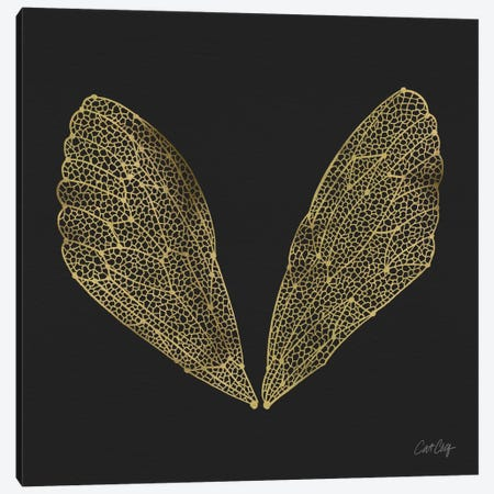 Cicada Wings Black Gold Artprint Canvas Print #CCE7} by Cat Coquillette Canvas Art