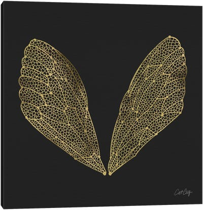 Cicada Wings Black Gold Artprint Canvas Print #CCE7