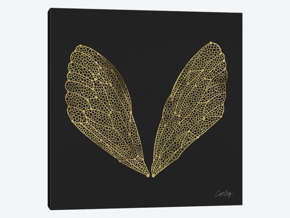 Cicada Wings Black Gold Artprint by Cat Coquillette 1-piece Canvas Art Print