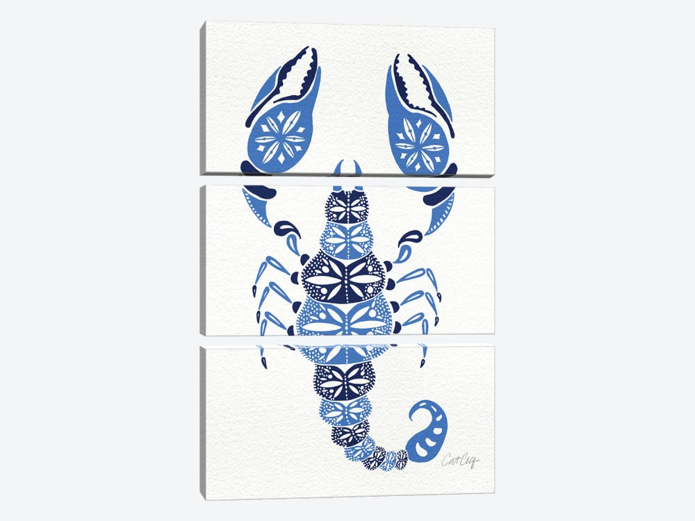 Blues Scorpion by Cat Coquillette 3-piece Canvas Art Print