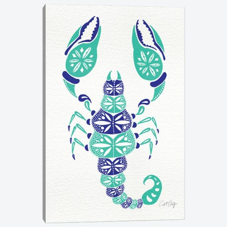Blue Turquoise Scorpion Artprint Canvas Print #CCE81} by Cat Coquillette Canvas Art