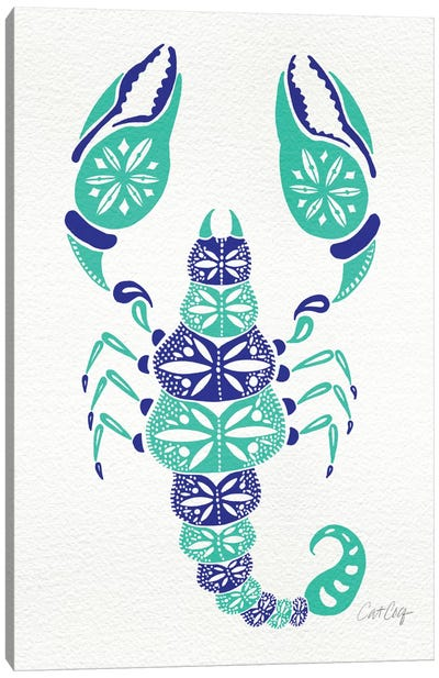 Blue Turquoise Scorpion Artprint Canvas Art Print