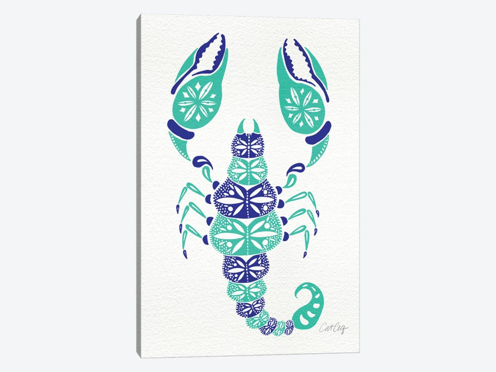 Blue Turquoise Scorpion Artprint by Cat Coquillette 1-piece Canvas Art