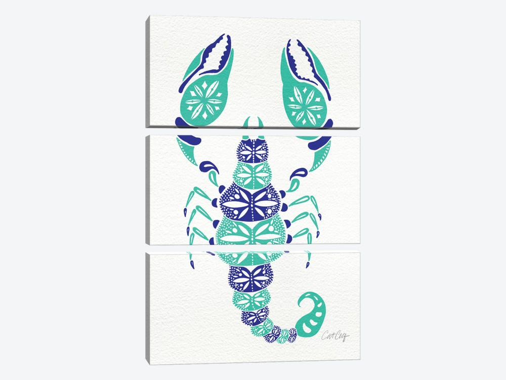 Blue Turquoise Scorpion Artprint by Cat Coquillette 3-piece Canvas Art