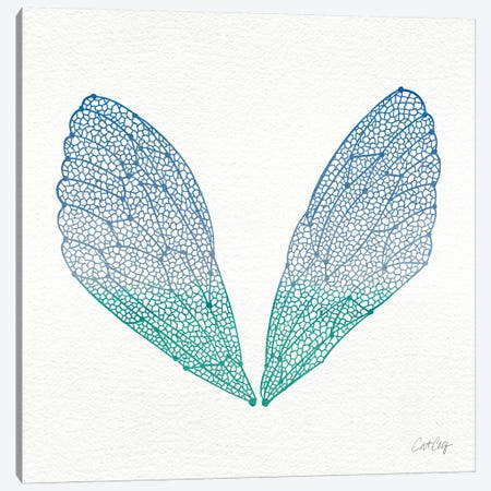 Cicada Wings Blue Turquoise Artprint Canvas Print #CCE8} by Cat Coquillette Art Print