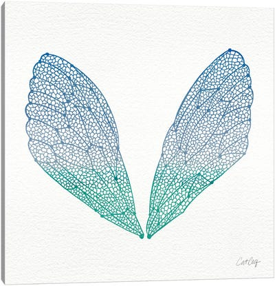 Cicada Wings Blue Turquoise Artprint Canvas Print #CCE8