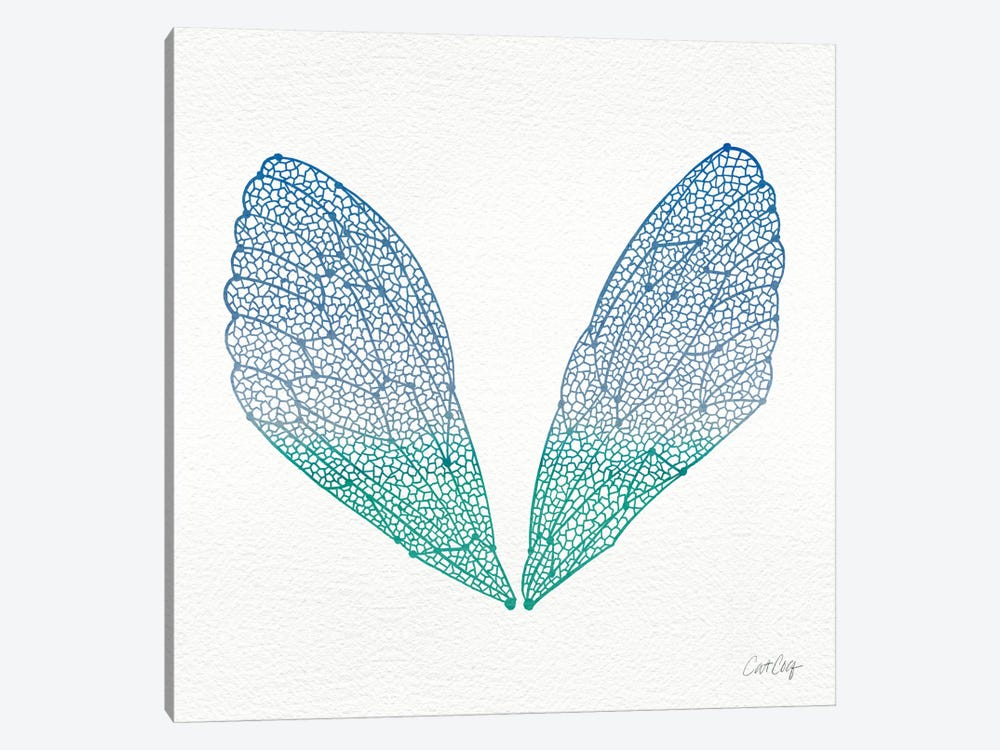 Cicada Wings Blue Turquoise Artprint by Cat Coquillette 1-piece Canvas Art