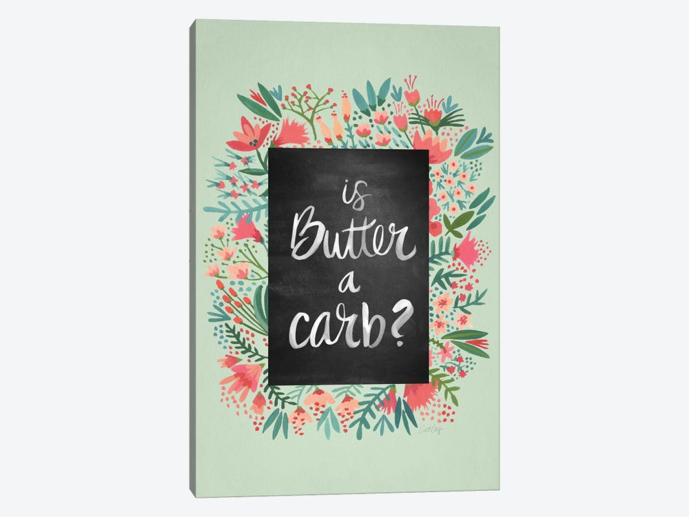 Butter Carb Flowers Mint Artprint by Cat Coquillette 1-piece Canvas Art