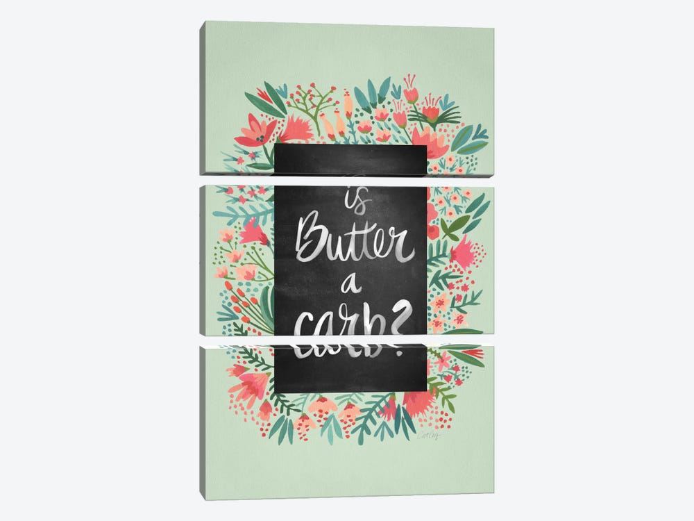 Butter Carb Flowers Mint Artprint by Cat Coquillette 3-piece Canvas Art