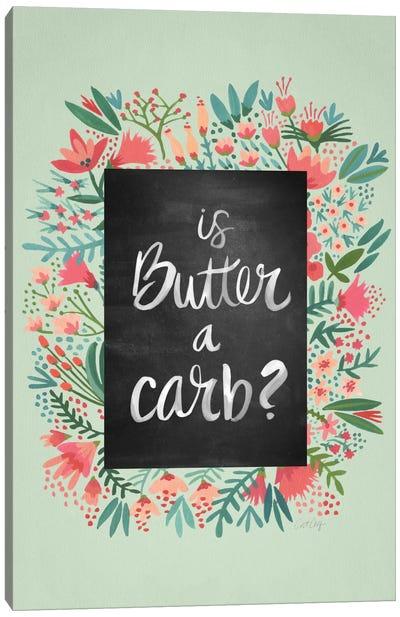 Butter Carb Flowers Mint Canvas Art Print