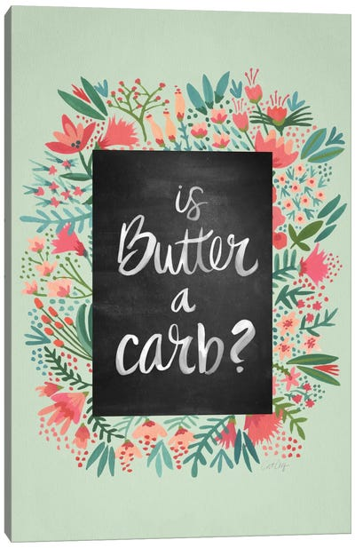 Butter Carb Flowers Mint Canvas Art Print