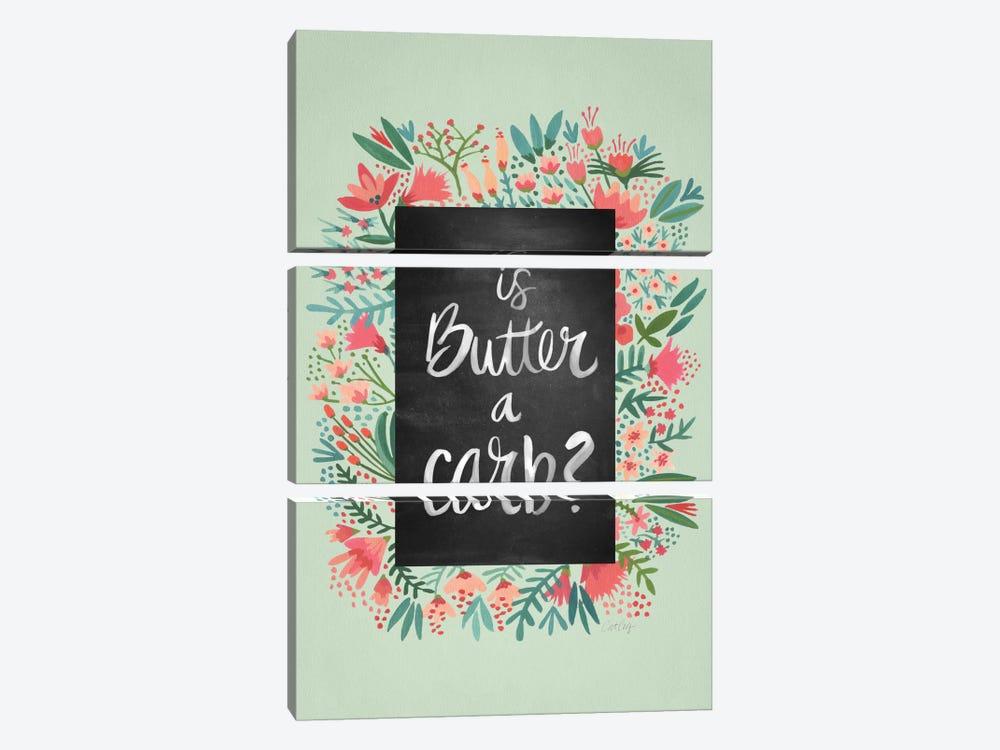 Butter Carb Flowers Mint by Cat Coquillette 3-piece Canvas Art