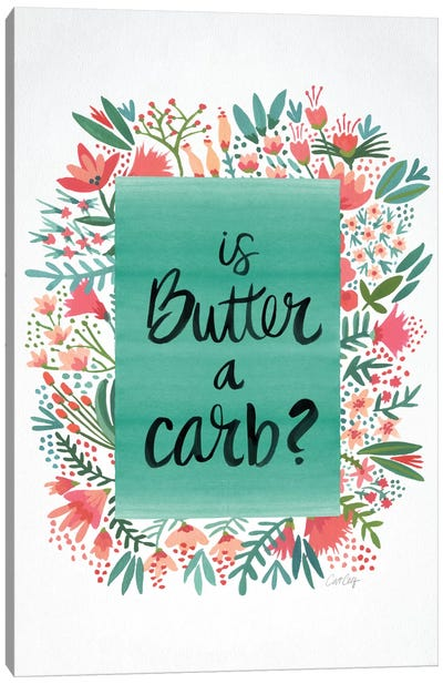 Butter Carb Flowers White Canvas Art Print