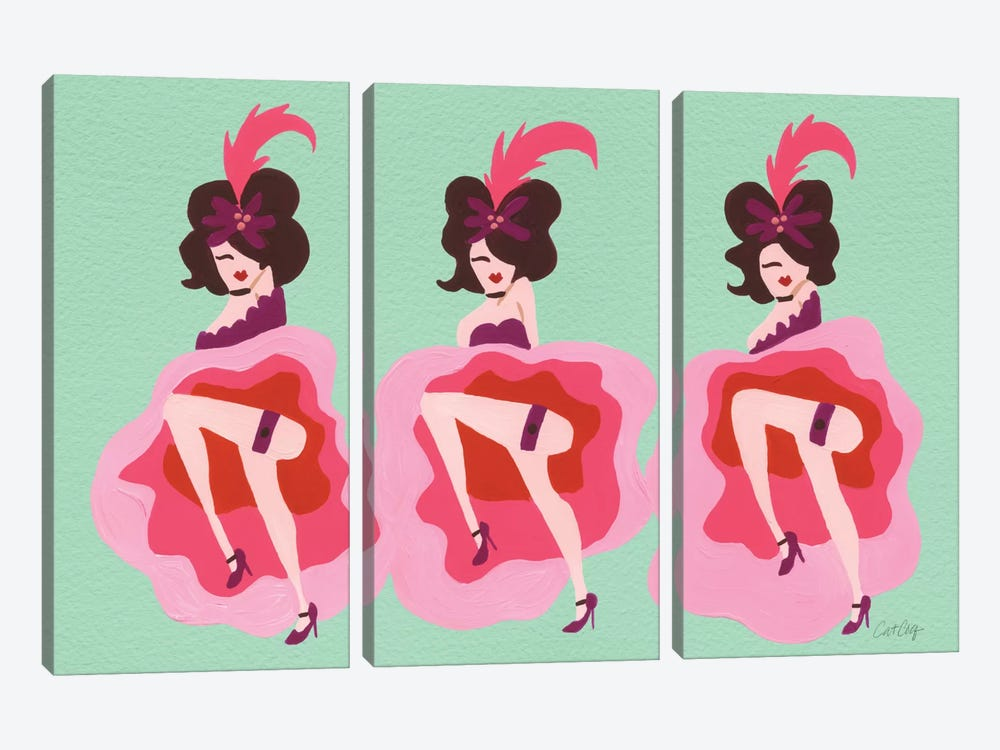 Cancan Mint Artprint by Cat Coquillette 3-piece Canvas Wall Art