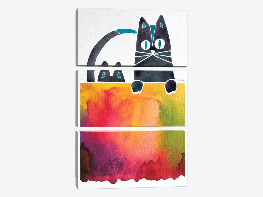 Cats Artprint by Cat Coquillette 3-piece Canvas Print