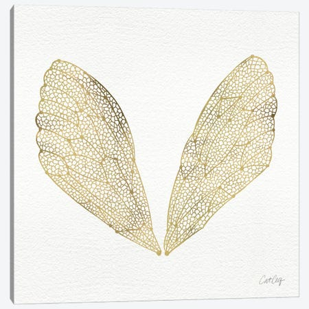 Cicada Wings Gold Artprint Canvas Print #CCE9} by Cat Coquillette Canvas Art Print