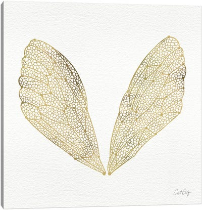 Cicada Wings Gold Artprint Canvas Print #CCE9
