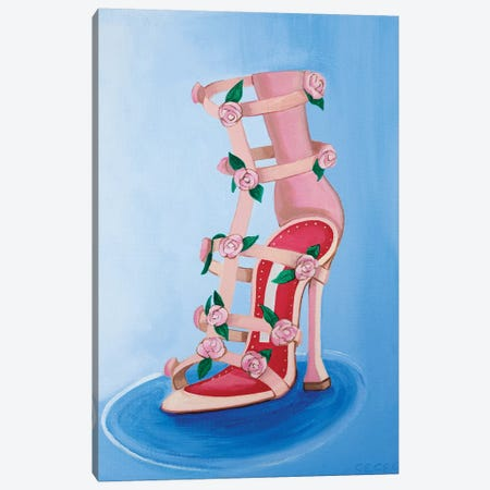 Manolo Blahnik Rose Heel Canvas Print #CCG12} by CeCe Guidi Art Print