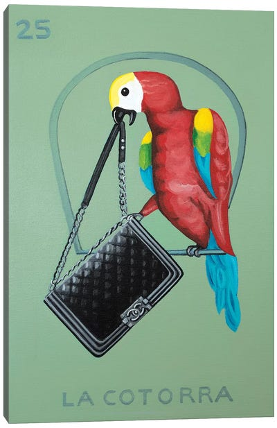The Parrot with Chanel Bag Canvas Art Print