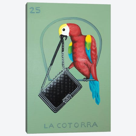 The Parrot with Chanel Bag Canvas Print #CCG15} by CeCe Guidi Canvas Wall Art